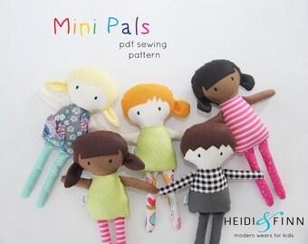 Mini Pals  soft rag doll sewing pattern toy softie stuffed doll