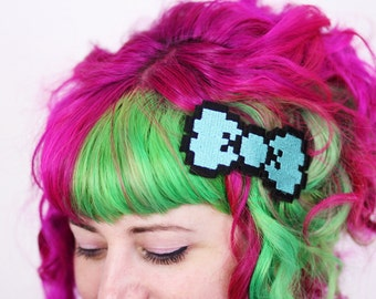 8 Bit Bow Hair Clip, Pixel Bow, Various Colours