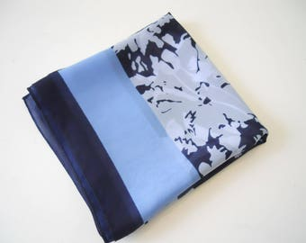 Pretty Ted Lapidus Scarf/Headscarf in Blue with Label and Signed.  Slightly Sheer. VGC