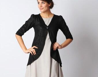 Floral shiny Black Cardigan - Pleated swallowtail jersey jacket - Shiny floral pattern Black jersey jacket - Office fashion