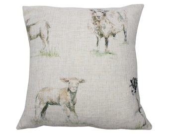 Sheep Countryside Animal Print Cushion Cover