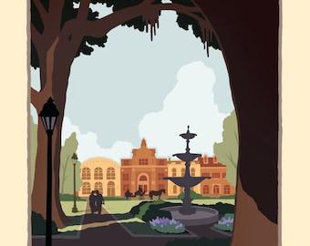 Savannah, Georgia -  Vintage Style Travel Poster