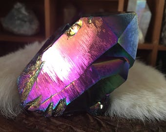 Rainbow Aura Quartz - Rainbow Aura Quartz Point- Quartz Point- Aura Quartz- Titanium Aura Quartz- Metaphysical Crystals- Reiki