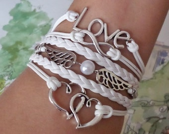 Infinity bracelet Love bracelet angel wings and double heart bracelet, Antique silver Charm white leather and wax cords. friendship bracelet