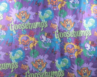 Vintage Goosebumps R L Stein Twin Flat and Fitted Sheet Set - 70 X 90 Craft Fabric Material ~ The Pink Room ~ 170703
