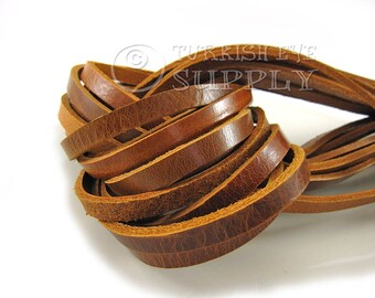 9mm Tan Flat Leather Strip Genuine Leather Strap 20cm-8 inches Real Leather Cord, Wide Strap Lace, Flat Leather Strapping, Leather Bracelet