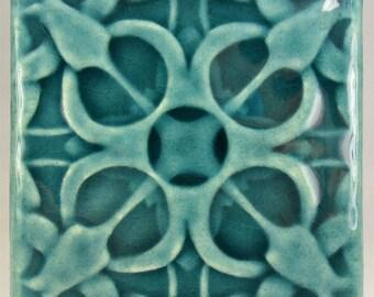 Ceramic tile, 4x4, blue crackle glaze,  tulip tile, accent tile, art tile, backsplash tile, fireplace tile, handmade tiles, kitchen tiles
