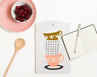 CUPS - Cutting board by Depeapa, Cups Cutting board, illustration by Depeapa, cups lover, illustrated cutting board