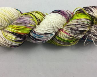 hand dyed sock yarn, speckle yarn, CONFETTI SOUP, superwash merino wool and nylon, 4 ply