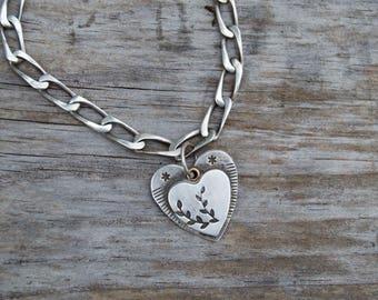Sterling Heart Charm Bracelet .Large Heart. Hand Forged . Flower . Heavy Vintage Cable Link Bracelet. Boho .