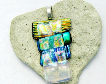 All Boxed In Fused Dichroic Glass Pendant