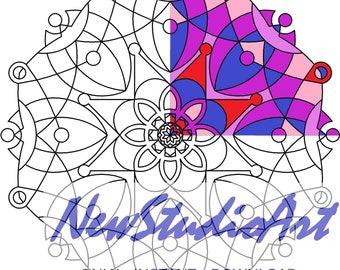 Printable Mandala Coloring Page-Art Therapy-Adult Coloring Page-Antistress-Coloring for Relaxation-Instant Digital Download - MANDALA 008