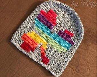 Rainbow Shamrock Slouchy Crochet Hat