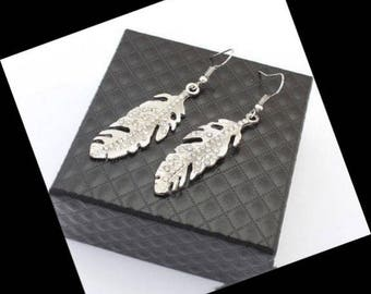 Silver Tone Leaf Earrings