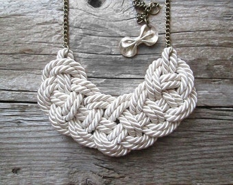 White Rope necklace Nautical rope knot necklace