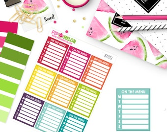 On The Menu Meal Planning Sticker | Die-Cut Stickers| Perfect for Erin Condren, Mambi Happy Planner, Personal, TN, Pocket Planners | BX013