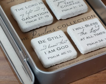 PSALMS Magnets. Rustic Refrigerator Magnets. 1.25 x 1.25.  Psalms Collection. Concrete Magnets. Gift Tin with Ribbon.