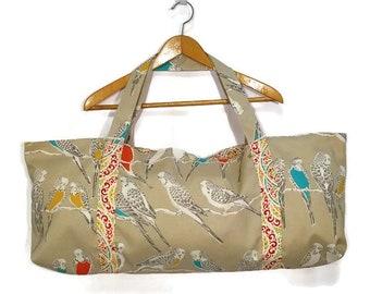 Yoga Mat Bag Parakeet Bird Print Tote Carry All lined