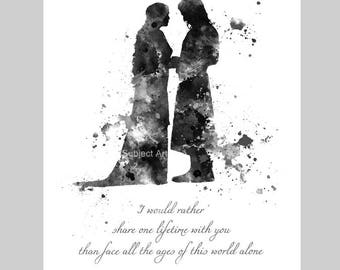 Aragorn and Arwen Quote, Lord of the Rings ART PRINT illustration, Evenstar, Home Decor, Wall Art, Fantasy, Gift