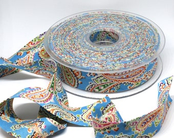Bias Binding, Turquoise Blue and Multicoloured Printed Paisley - Soft 100% Cotton Bias Binding, 1inch Wide, Paisley Pattern,2.5cm/25mm Wide