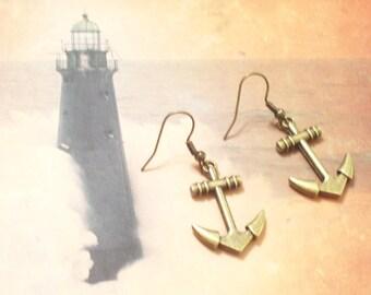 Antiqued Brass Ship Anchor Earrings, Nautical Earrings, Nautical Jewelry, Anchor Jewelry, Brass Anchor Earrings, Cruise Earrings