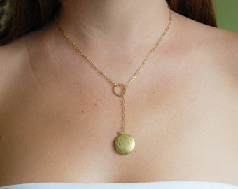 Vintage Locket Lariat Necklace