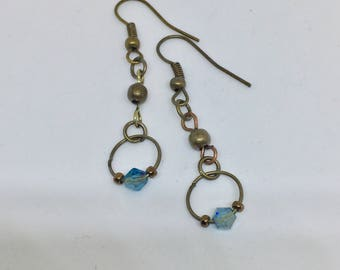 Antique Brass Teal Swarovski Crystal Drop Earrings