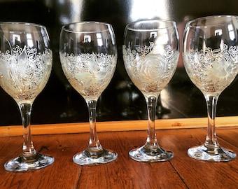 Floral Design Wine Glass