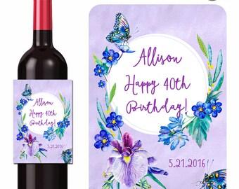 Custom Happy Birthday Wine Labels Personalized Stickers Butterflies Purple Iris Blue Flowers - Waterproof Vinyl 3.5 x 5 inch