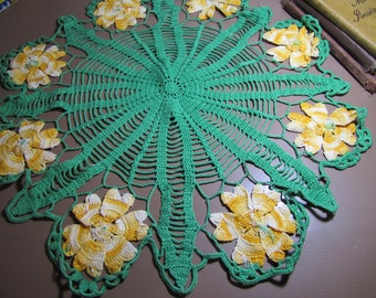 Vintage Crocheted Doily - Bright Green - Variegated Yellow Flowers - Spiderweb Pattern