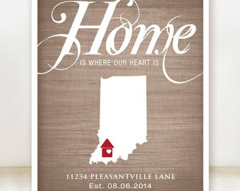 Home is where our heart is - Personalized Housewarming Gift - Custom Name State Country Print any Color - Perfect for New Homeowner - 8x10