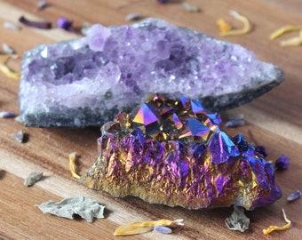 TWO Crystals Titanium Aura Crystal and Amethyst Cluster Titanium Crystal Raw Crystal Healing Crystals and Stones Rainbow Titanium Quartz