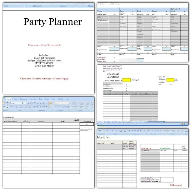 Event Planner Spreadsheet