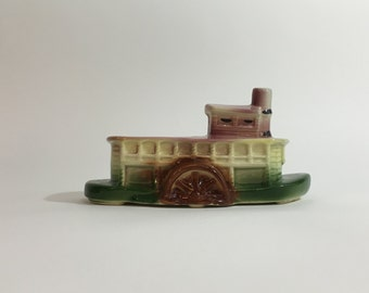 American Bisque Riverboat Planter ~ American Bisque Pottery ~ Paddle Boat Planter ~ Green and Pink Planter ~ Mid-Century Planter