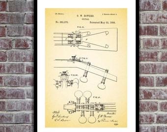 19th Century Guitar Patent, 19th Century Guitar Poster, Guitar Blueprint, Guitar Print, Guitar Art, Guitar Decor