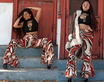 Retro Swirl Super Flare Bellbottom Pants High Waist XS S M L XL XXL