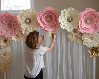 Paper flower backdrop, Paper flower template, DIY paper flower, large paper flower template, wedding decor, paper flower tutorial,