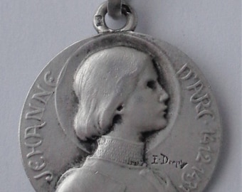Antique French Solid Silver Medal St. Joan Of Arc