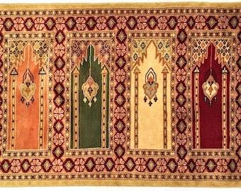 Bukhara Hand Knotted Silk Wool Rug
