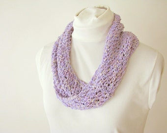 Lavender Infinity Summer Scarf - Handknit Cotton Lace Twist Scarf