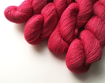 Reclaimed Lace Yarn - Merino/Rayon/Angora/Cashmere - Red Rose Heather