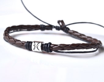 Brown leather silver Pisces