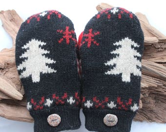 Wool sweater mittens lined with fleece with Lake Superior rock buttons in black, red, and white, Christmas, birthday, anniversary