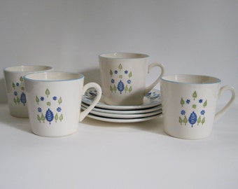 Vintage Swiss Alpine Cups and Saucers - Set of Four - Stetson Marcrest