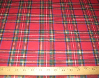 "Red/Royal Stewart plaid 100% cotton flannel fabric 58"" wide sold by the yard"