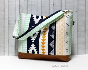 Aztec Horizon with Vegan Leather  - Messenger Tote Bag /  Diaper Bag - Large Bag - SALE