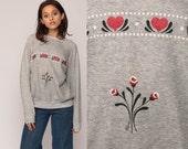 Floral Sweatshirt HEART Shirt 80s Top Vintage RAGLAN Sleeve Sweater Graphic 1980s Slouchy Pullover Crewneck Grey Medium