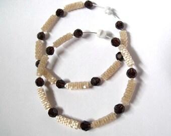 Coffee brown and beige hoop earrings   large hoop earrings   brown crystal hoop earrings   glass woven beaded beige jewelry