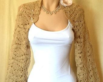 LIQUIDATION Stock 30% OFF Bridesmaid Shrug Bolero Wedding Bridal Accessories Hand Knitted Gift Crochet Jacket Cardigan Women Capelet Beige