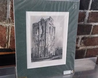 Vintage Print Cambuskenneth Tower Abbey Stirling Steel Engraving 1896